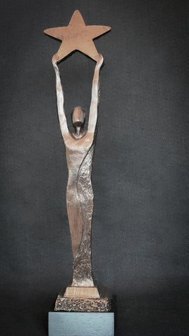 Custom Award | Bronze Patina | Person standing arms stretched above head with large 5 point star in hands