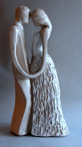 Jacob & Stephanie | Stoneware Sculpture | Intimate Embrace | Holding Hands| Wedding Day | Center Piece