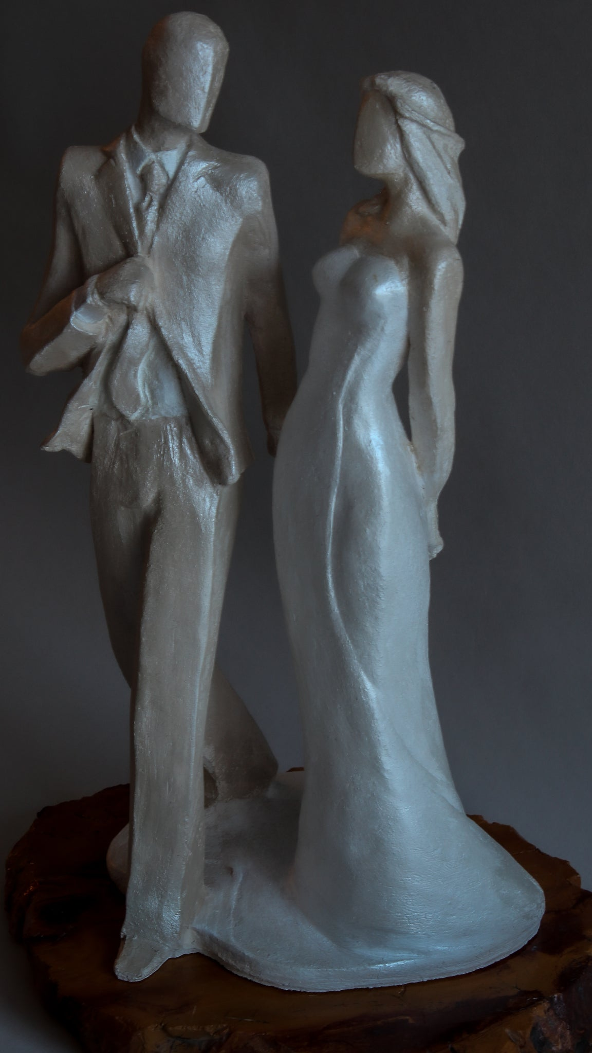The Big Day | Stoneware Sculpture | Wedding Cake Topper| Newly Weds Stride into their Future Together