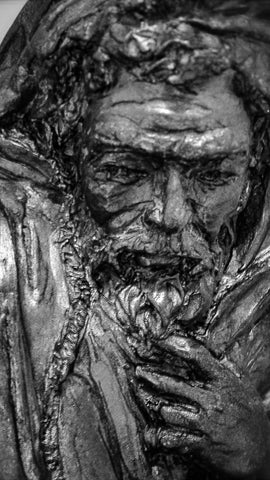 Internal Conflict | Stoneware Sculpture | Detail of Face | Bearded Man |