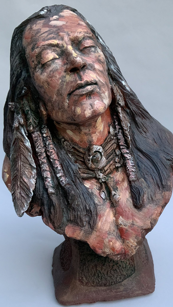 Beautiful 1/2 life size sculpture | Rising Sun | Stoneware | Tribute To the Native American | Hunter | Tribesman | Eyes closed | Head tilted slightly | Enjoying the first rays of morning sun.