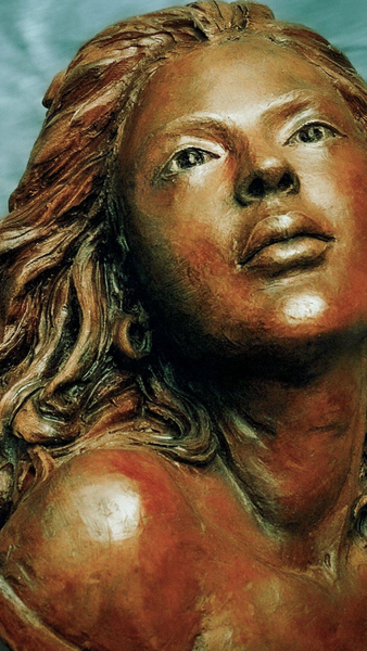 Bronze | Stoneware | Sculpture | Portrait | Beautiful woman with long flowing hair.