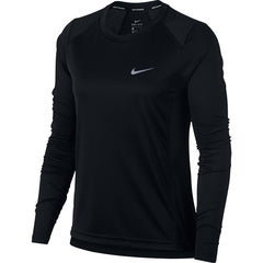 Nike Women's Miler Long-Sleeve Running Top -Black