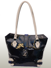 Bella Bianca Ladies leather handbag Stella  Blue and White