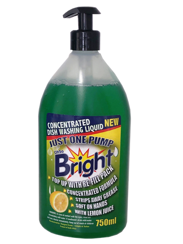OhSoBright 850ml Concentrated Dish Washing Liquid - Pump Pack