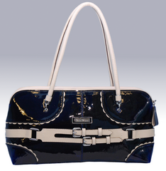 Bella Bianca ladies leather handbag Aletta blue and white