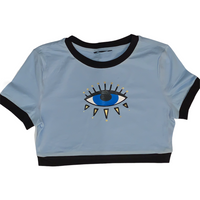 Evil Eye ringer crop-Baby Blue