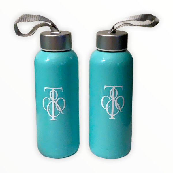 16 oz Mint blue plastic coated glass canteen