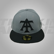 Load image into Gallery viewer, GRAY AND BLACK FITTED HAT