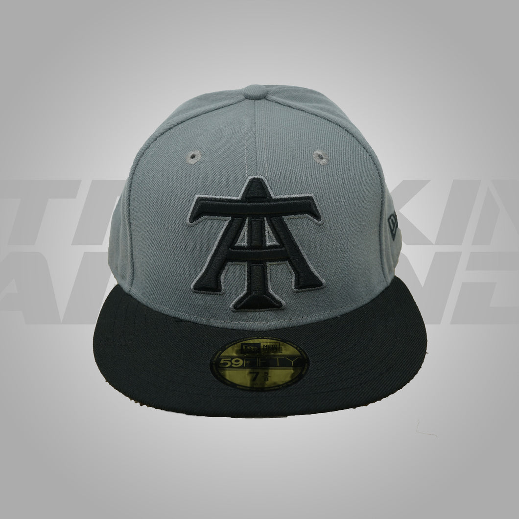 GRAY AND BLACK FITTED HAT