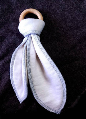 Organic Cotton Bamboo Fleece - Bunny Ears Teething Toy & Lovey - Kitchen Witch Co. - Kitchen Witch Co.