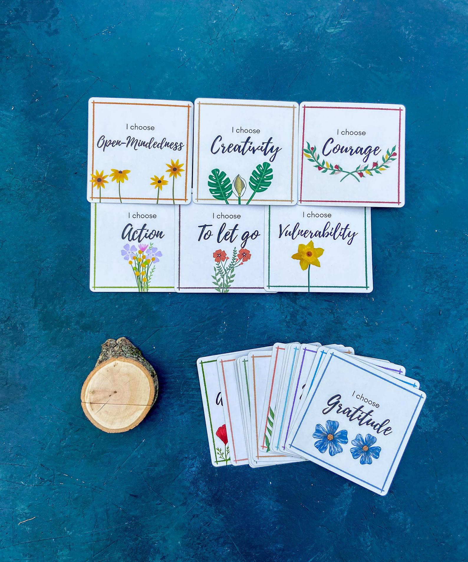 Adult Intention Set. Deck of intention cards and wood base.