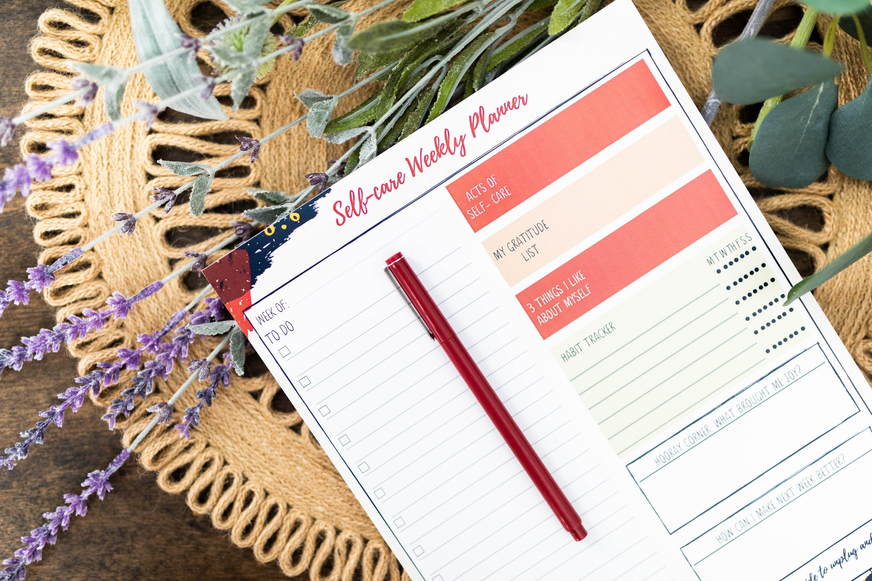 Self-care Weekly Planner