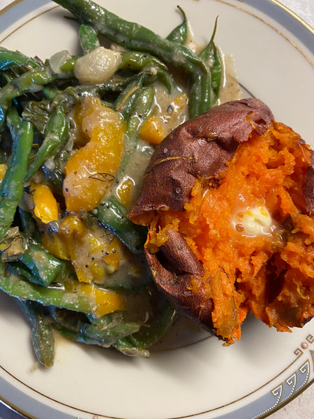 Creamy Green Beans and Baked Sweet Potato
