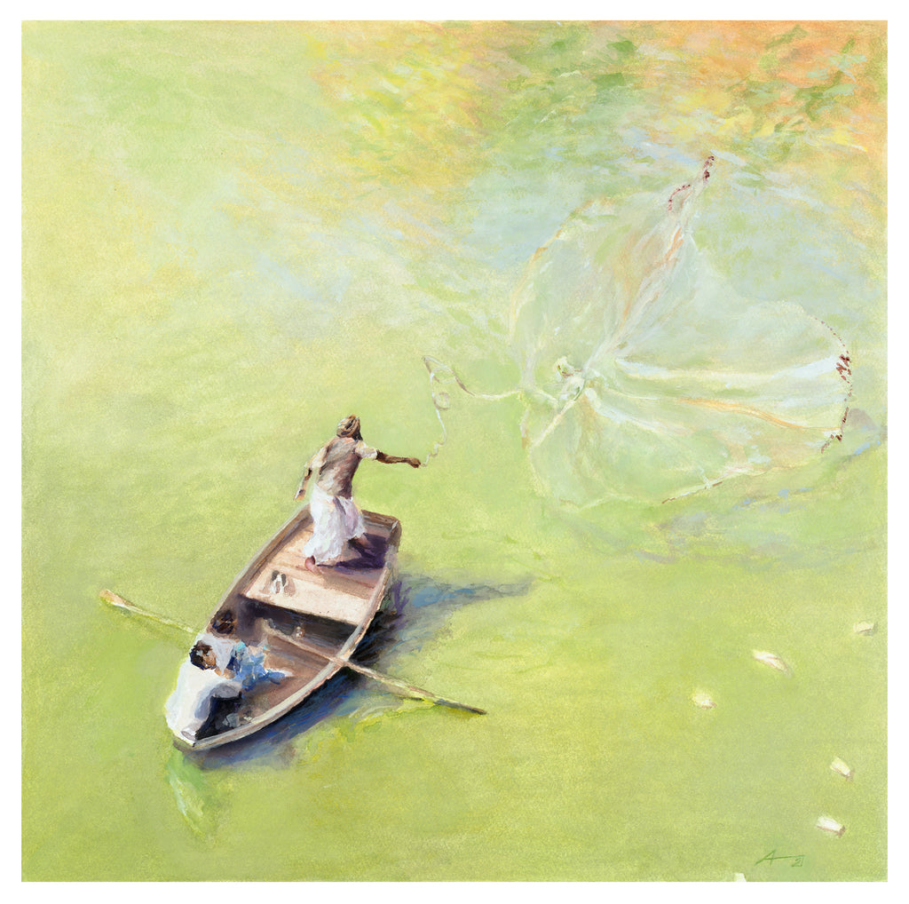 Amer Fort Fishermen, Watercolor Print