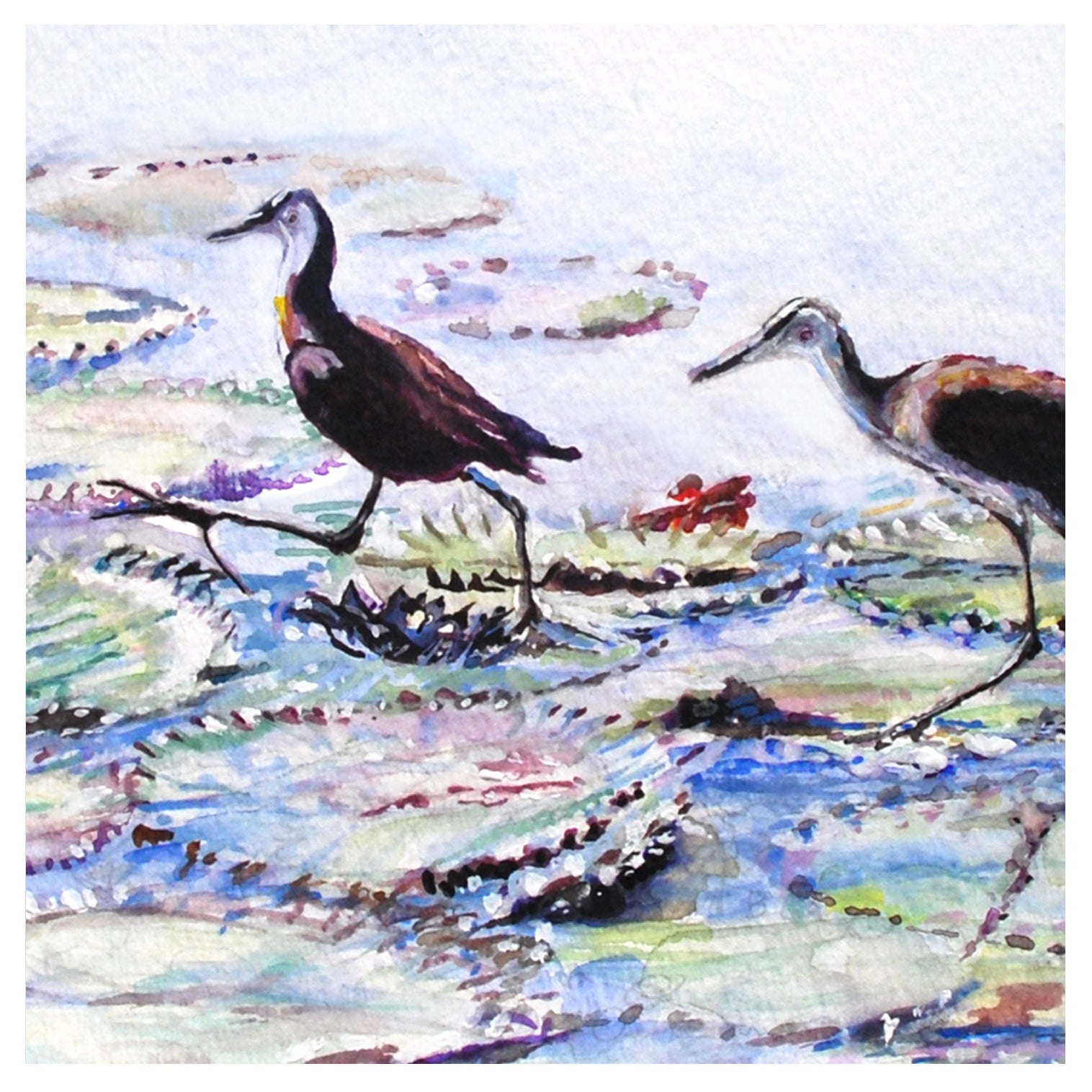 1977 Walking on Water, Watercolor Print