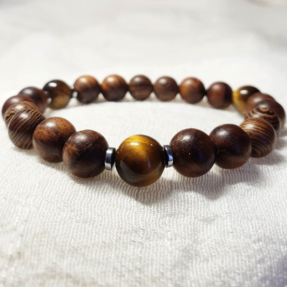 Gemstone and Wood Bracelet