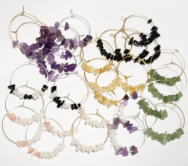 Gemstone Chip Hoops