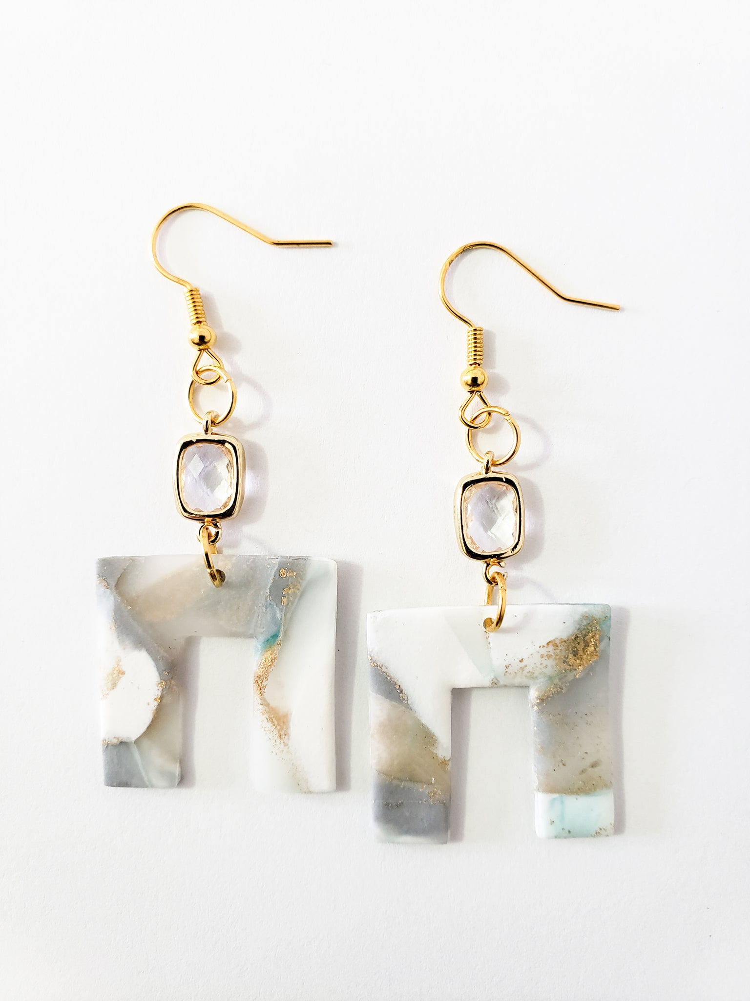 Elegant Square Dangles in Layered Crystal (Teal)