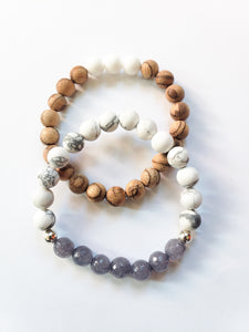 White and Grey Bracelet Stack