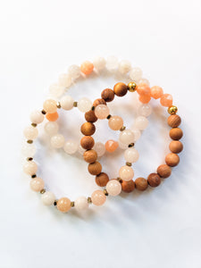 Peach and Coral Bracelet Stack