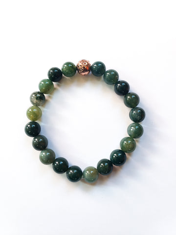Moss Agate and Rose Gold Gemstone Bracelet