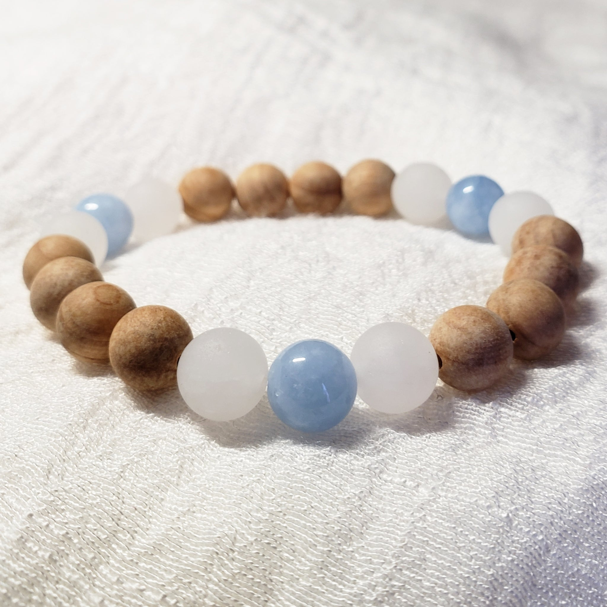 Blue, White, and Wood Bracelet
