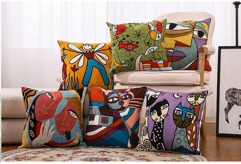 Faces Canvas Embroidered Pillow Covers - AJOONII