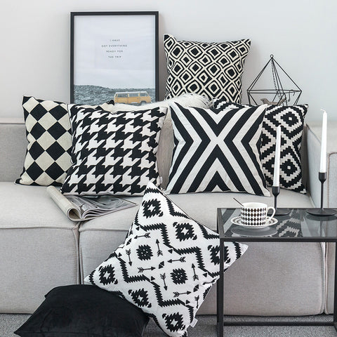 Thread Embroidered Black & White Pillow Covers - AJOONII
