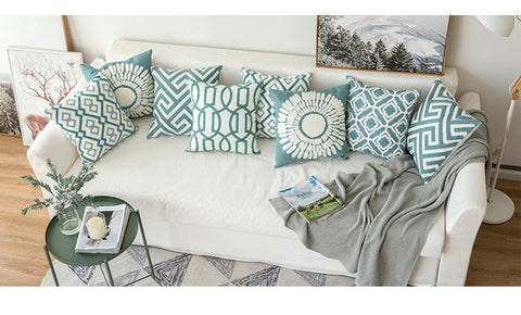Teal Thread Embroidered Pillow Covers - AJOONII