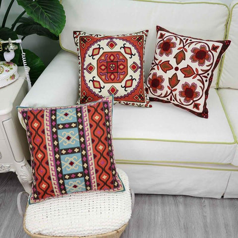 Vintage Indian Embroidery Pillow Covers - AJOONII