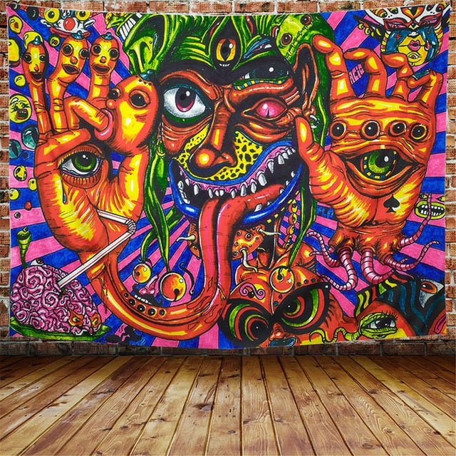 The Green Face Third Eye Wall Tapestry - AJOONII