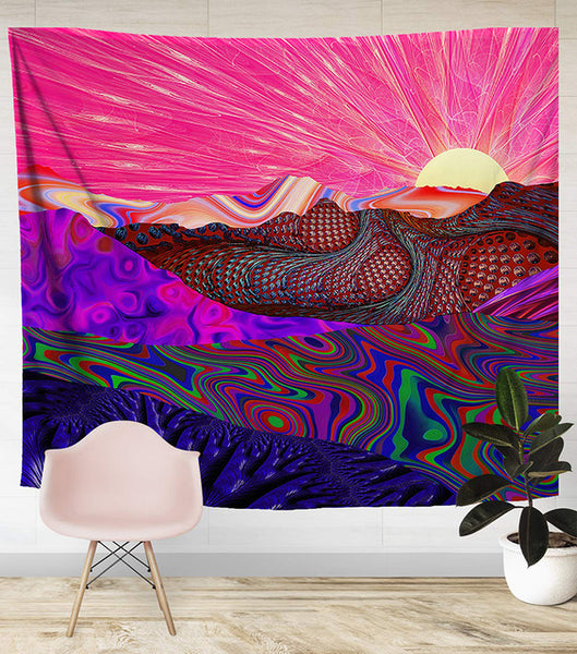 The Pink Zentangled Nature Wall Tapestry - AJOONII