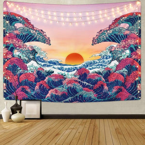 Waves Rising Wall Tapestry - AJOONII