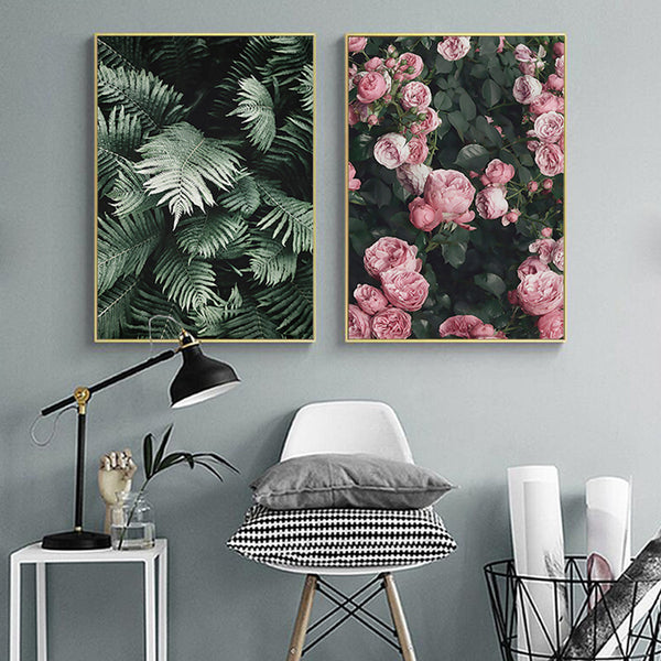 Green Leaves Rose Flowers Canvas Prints - AJOONII