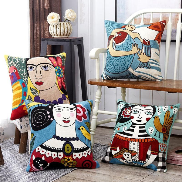 Picasso Cotton Embroidery Pillow Covers
