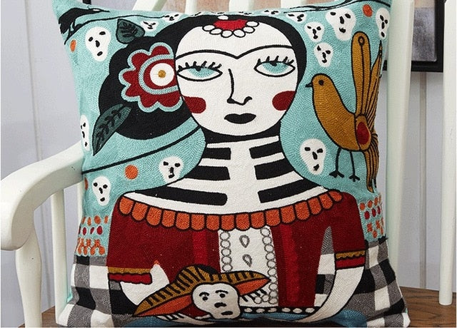 Picasso Cotton Embroidery Cushion Cover - AJOONII