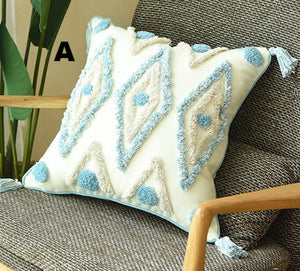Blue Rhombus With Tassels Pillow Covers - AJOONII