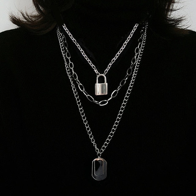 Unisex Multi Layer Pendant Necklace