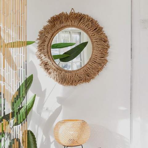 Hemp Rope Braided Mirror Wall