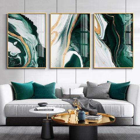 Emerald and Golden Flux Canvas Prints