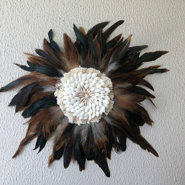 Feather and Shell Wall Hanging (3 Pcs) - AJOONII