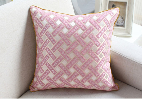 Grid Pattern Chenille Flocking Cushion Covers - AJOONII