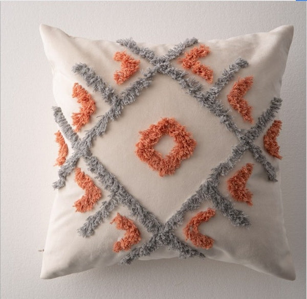 Handmade Morocco Geometric Embroidery Cushion Cover - AJOONII