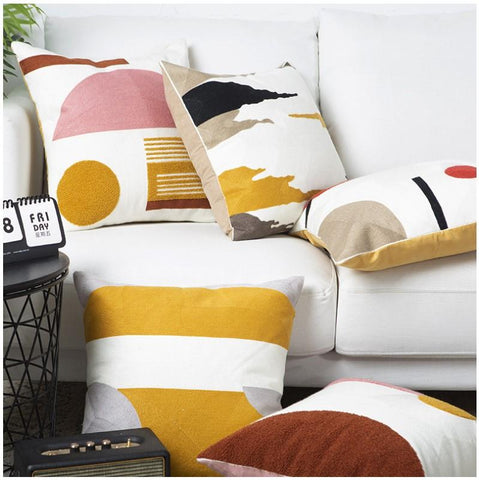 Yellow Abstract Embroidery Pillow Covers - AJOONII