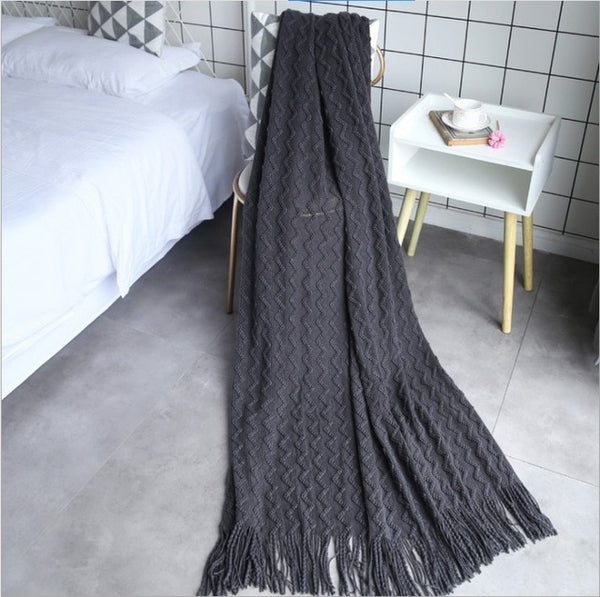 ZigZag Knitted Throw Travel Blankets - AJOONII