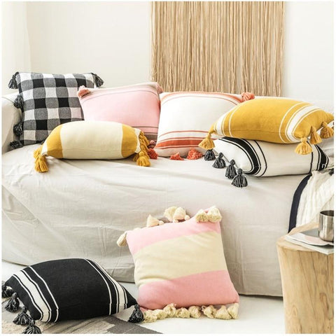 Striped Knitted Cotton Pillow Covers - AJOONII