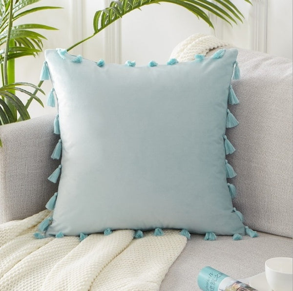 Solid Color Velvet Soft Tasseled Pillow Covers - AJOONII