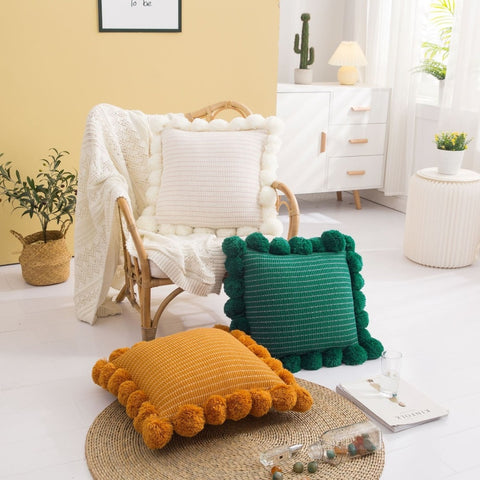 Tri Color Knitted Cushion Covers With Pom Pom - AJOONII
