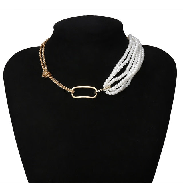 Half Pearls Chain Necklace